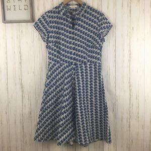 Boden Sofia Shirt Dress Blue Flamingo Print Sz 10R